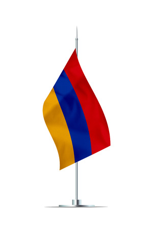 Small Armenia flag  on a metal pole. The flag has nicely detailed textile texture. Isolated on white background. 3D rendering.