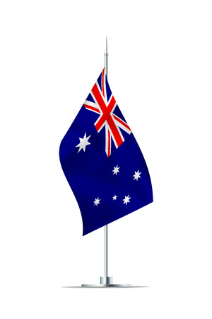 Small Australia flag  on a metal pole. The flag has nicely detailed textile texture. Isolated on white background. 3D rendering. Stock Photo