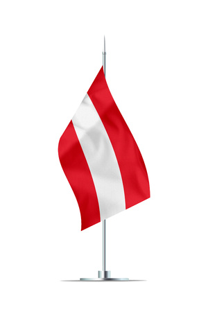 Small Austria flag  on a metal pole. The flag has nicely detailed textile texture. Isolated on white background. 3D rendering.