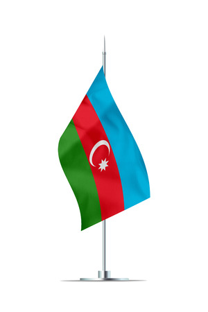 Small Azerbaijan flag  on a metal pole. The flag has nicely detailed textile texture. Isolated on white background. 3D rendering.