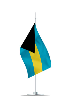 Small Bahamas flag  on a metal pole. The flag has nicely detailed textile texture. Isolated on white background. 3D rendering. Stock Photo