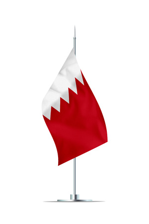 Small Bahrain flag  on a metal pole. The flag has nicely detailed textile texture. Isolated on white background. 3D rendering.
