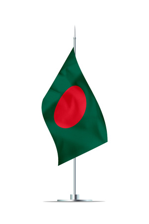 Small Bangladesh flag  on a metal pole. The flag has nicely detailed textile texture. Isolated on white background. 3D rendering. Stock Photo