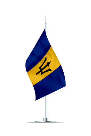 Small Barbados flag  on a metal pole. The flag has nicely detailed textile texture. Isolated on white background. 3D rendering. Stock Photo