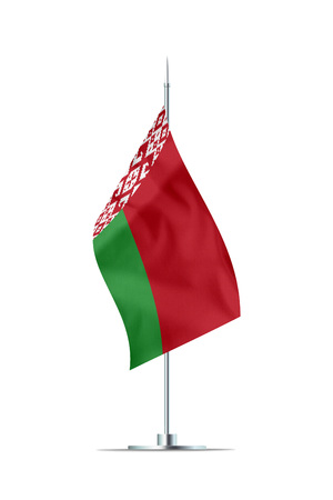 Small Belarus flag  on a metal pole. The flag has nicely detailed textile texture. Isolated on white background. 3D rendering.