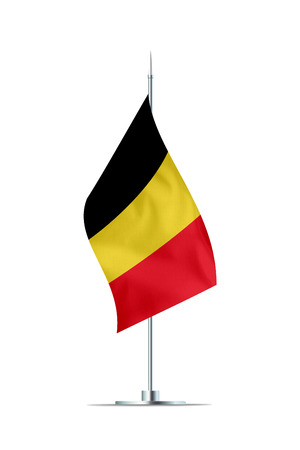 Small Belgium flag  on a metal pole. The flag has nicely detailed textile texture. Isolated on white background. 3D rendering.