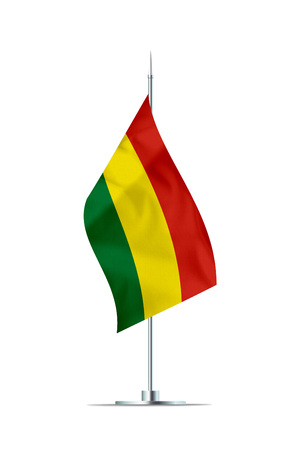 Small Bolivia flag  on a metal pole. The flag has nicely detailed textile texture. Isolated on white background. 3D rendering.