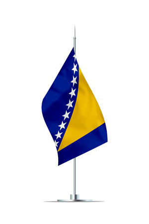 Small Bosnia and Herzegovina flag  on a metal pole. The flag has nicely detailed textile texture. Isolated on white background. 3D rendering. Stock Photo