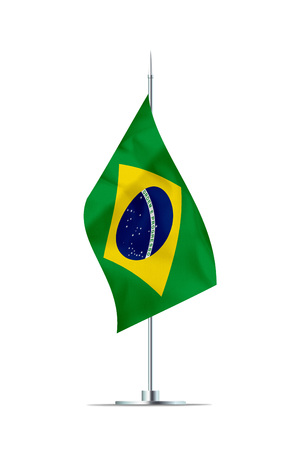 Small Brazilian flag  on a metal pole. The flag has nicely detailed textile texture. Isolated on white background. 3D rendering. Stock Photo