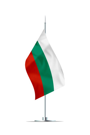 Small Bulgarian flag  on a metal pole. The flag has nicely detailed textile texture. Isolated on white background. 3D rendering. Stock Photo