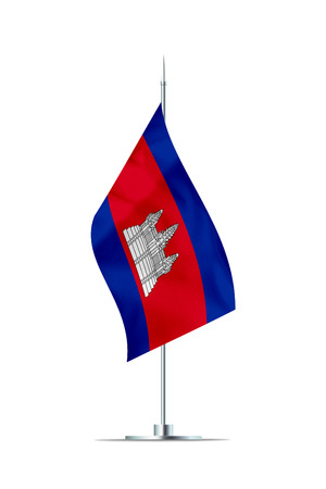 Small Cambodian flag  on a metal pole. The flag has nicely detailed textile texture. Isolated on white background. 3D rendering.
