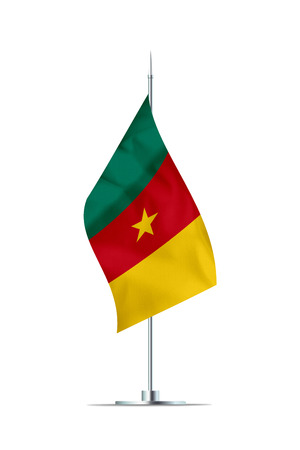 Small Cameroon flag  on a metal pole. The flag has nicely detailed textile texture. Isolated on white background. 3D rendering.