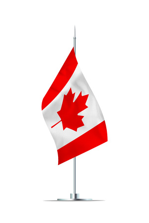 Small Canadian flag  on a metal pole. The flag has nicely detailed textile texture. Isolated on white background. 3D rendering.