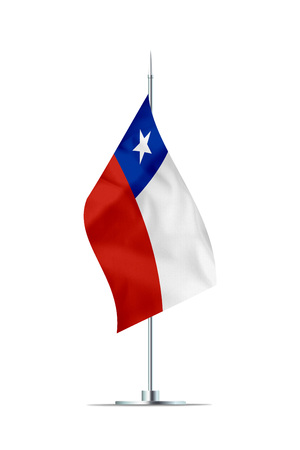 Small Chilean flag  on a metal pole. The flag has nicely detailed textile texture. Isolated on white background. 3D rendering.