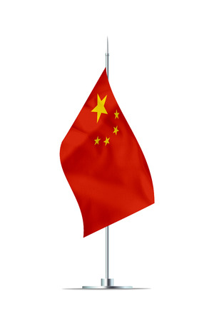 Small Chinese flag  on a metal pole. The flag has nicely detailed textile texture. Isolated on white background. 3D rendering. Stock Photo