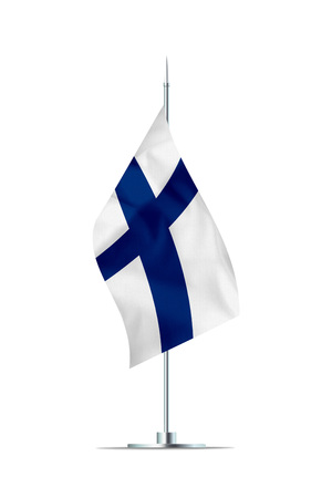 Small Finnish flag  on a metal pole. The flag has nicely detailed textile texture. Isolated on white background. 3D rendering. Stock Photo
