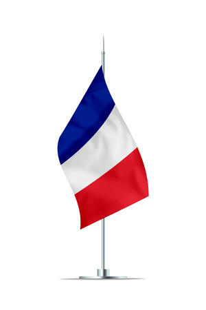 Small french flag  on a metal pole. The flag has nicely detailed textile texture. Isolated on white background. 3D rendering.