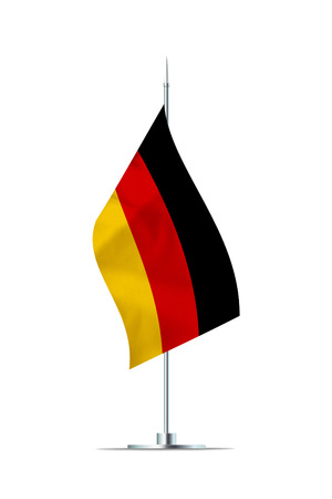 Small German flag  on a metal pole. The flag has nicely detailed textile texture. Isolated on white background. 3D rendering. Stock Photo