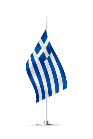 Small Greek flag  on a metal pole. The flag has nicely detailed textile texture. Isolated on white background. 3D rendering.