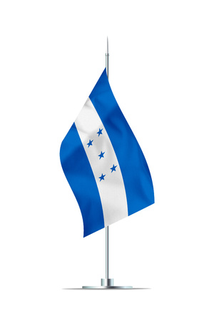 Small Honduras flag  on a metal pole. The flag has nicely detailed textile texture. Isolated on white background. 3D rendering.