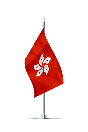 Small Hong Kong flag  on a metal pole. The flag has nicely detailed textile texture. Isolated on white background. 3D rendering.
