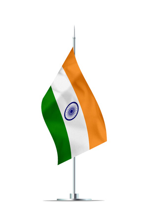 Small Indian flag  on a metal pole. The flag has nicely detailed textile texture. Isolated on white background. 3D rendering.