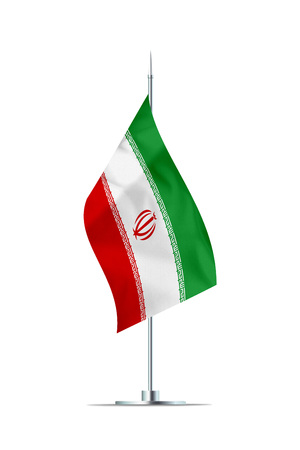 Small Iranian flag  on a metal pole. The flag has nicely detailed textile texture. Isolated on white background. 3D rendering.