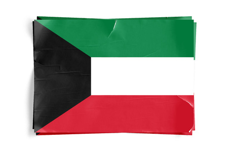 Realistic illustration of Kuwait flag on torned, wrinkled, dirty, grunge paper poster. Three of them on top of eachother. 3D rendering.