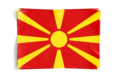 Realistic illustration of Macedonian flag on torned, wrinkled, dirty, grunge paper poster. Three of them on top of eachother. 3D rendering.