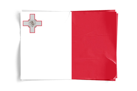 Realistic illustration of Maltese flag on torned, wrinkled, dirty, grunge paper poster. Three of them on top of eachother. 3D rendering.