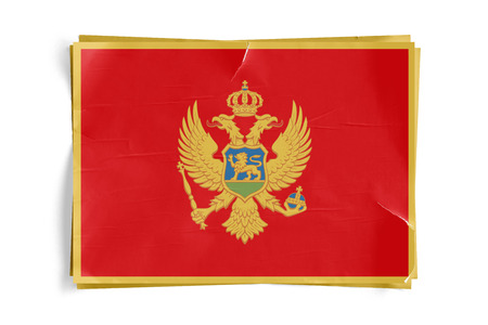 Realistic illustration of Montenegro flag on torned, wrinkled, dirty, grunge paper poster. Three of them on top of eachother. 3D rendering.