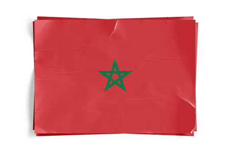 Realistic illustration of Morocco flag on torned, wrinkled, dirty, grunge paper poster. Three of them on top of eachother. 3D rendering.