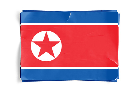 Realistic illustration of North Korean flag on torned, wrinkled, dirty, grunge paper poster. Three of them on top of eachother. 3D rendering. Zdjęcie Seryjne
