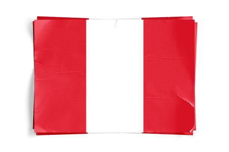 Realistic illustration of Peru flag on torned, wrinkled, dirty, grunge paper poster. Three of them on top of eachother. 3D rendering.