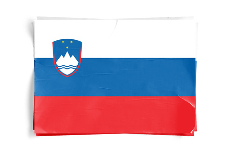 Realistic illustration of Slovenian flag on torned, wrinkled, dirty, grunge paper poster. Three of them on top of eachother. 3D rendering. Stock Photo