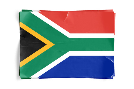 Realistic illustration of South African flag on torned, wrinkled, dirty, grunge paper poster. Three of them on top of eachother. 3D rendering.