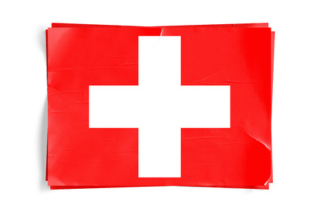 Realistic illustration of Swiss flag on torned, wrinkled, dirty, grunge paper poster. Three of them on top of eachother. 3D rendering.