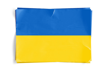 Realistic illustration of Ukrainian flag on torned, wrinkled, dirty, grunge paper poster. Three of them on top of eachother. 3D rendering.
