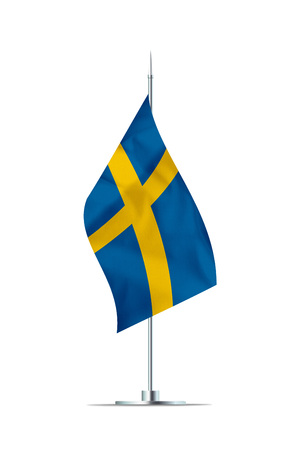 Small Swedish flag  on a metal pole. The flag has nicely detailed textile texture. Isolated on white background. 3D rendering. Stock Photo