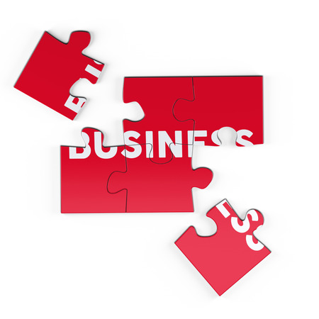 Realistic red six pieces of jigsaw puzzle with Business text on isolated white background. 3D rendering.