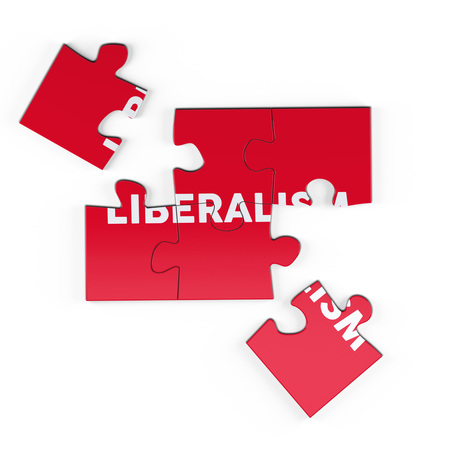 Realistic red six pieces of jigsaw puzzle with Liberalism text on isolated white background. 3D rendering. Stock Photo
