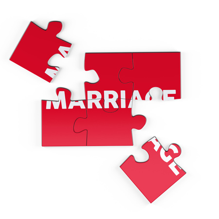 Realistic red six pieces of jigsaw puzzle with Marriage text on isolated white background. 3D rendering.