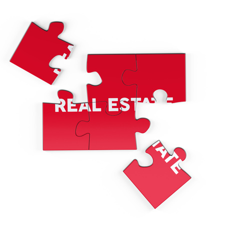 Realistic red six pieces of jigsaw puzzle with Real Estate text on isolated white background. 3D rendering.