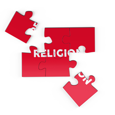 Realistic red six pieces of jigsaw puzzle with Religion text on isolated white background. 3D rendering. Stock Photo
