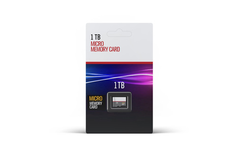 Hi quality realistic micro sd memory card in plastic package on white background. Isolated on white. Stock Photo