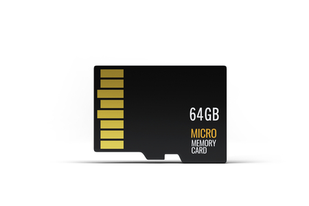 Hi quality realistic micro sd memory card on white background. Isolated on white. Stock Photo