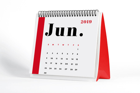 2019 June page of a desktop calendar on white background. 3D Rendering.