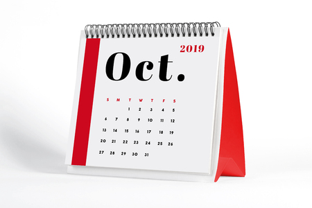2019 October page of a desktop calendar on white background. 3D Rendering. Stock Photo