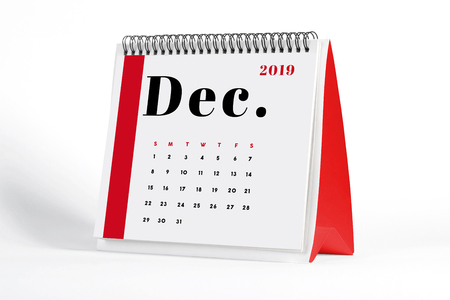 2019 December page of a desktop calendar on white background. 3D Rendering. Stock Photo