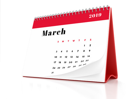 2019 March page of a desktop calendar on white background. 3D Rendering.